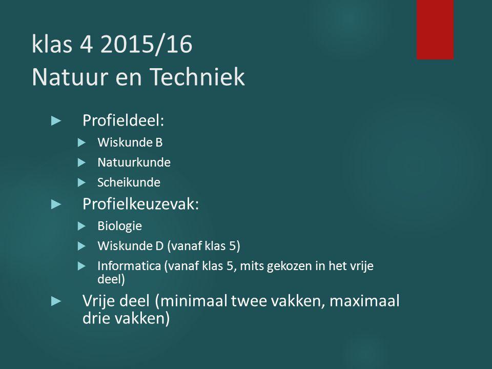 klas 4 2015/16 Natuur en Techniek