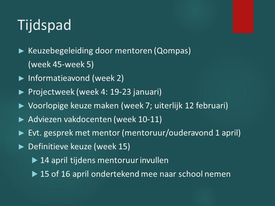 Tijdspad Keuzebegeleiding door mentoren (Qompas) (week 45-week 5)