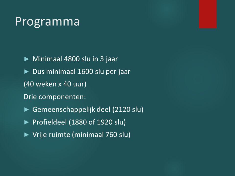 Programma Minimaal 4800 slu in 3 jaar Dus minimaal 1600 slu per jaar