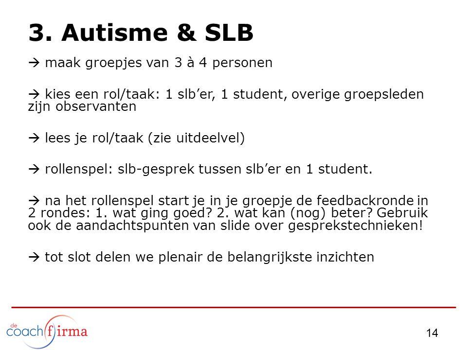3. Autisme & SLB maak groepjes van 3 à 4 personen