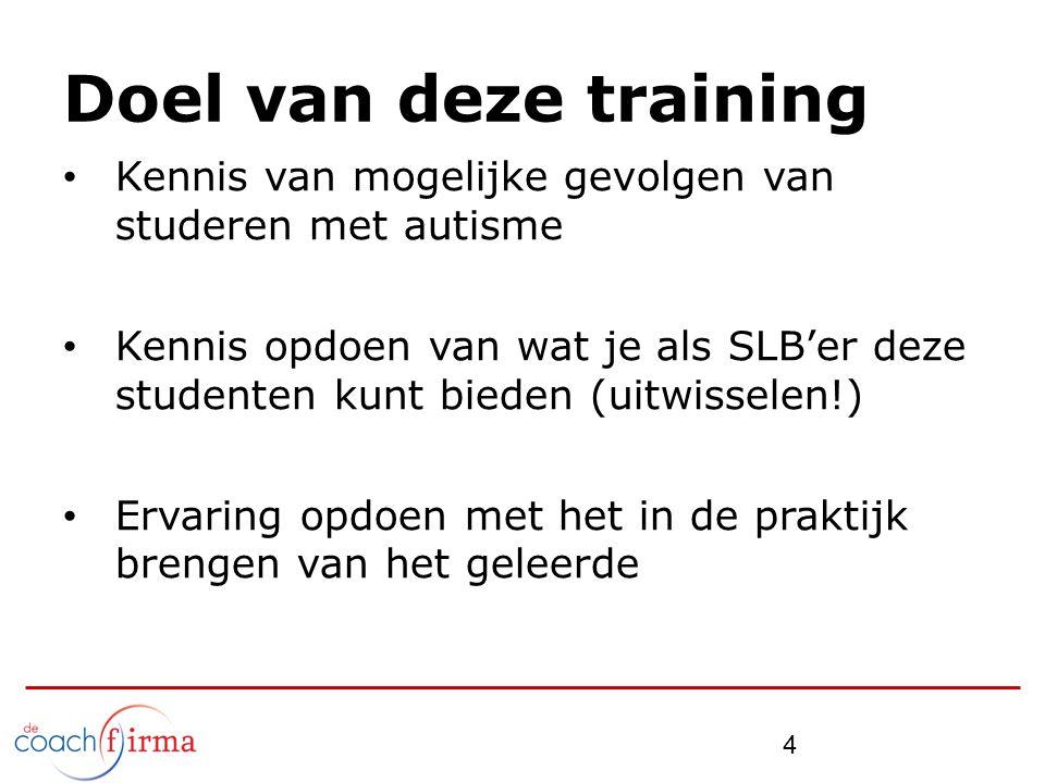 Doel van deze training Kennis van mogelijke gevolgen van studeren met autisme.