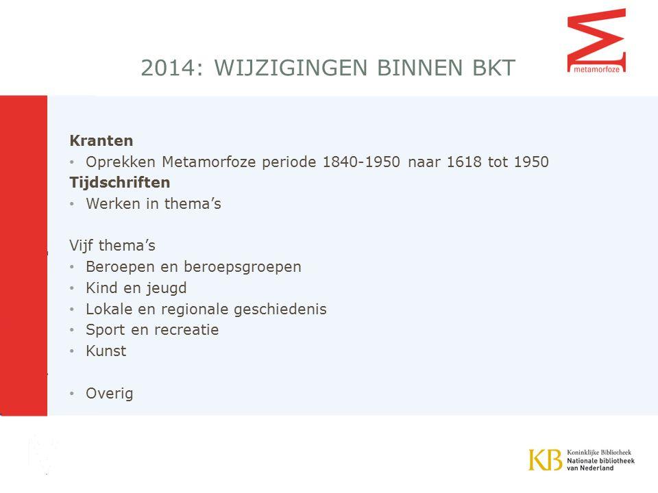 2014: wijzigingen binnen BKT