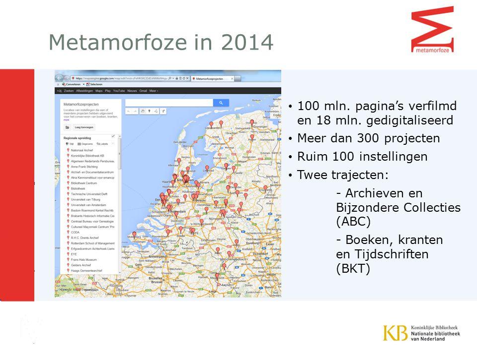 Metamorfoze in 2014 100 mln. pagina's verfilmd en 18 mln. gedigitaliseerd. Meer dan 300 projecten.