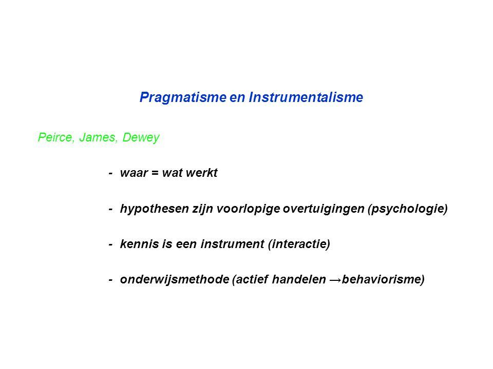 Pragmatisme en Instrumentalisme Peirce, James, Dewey