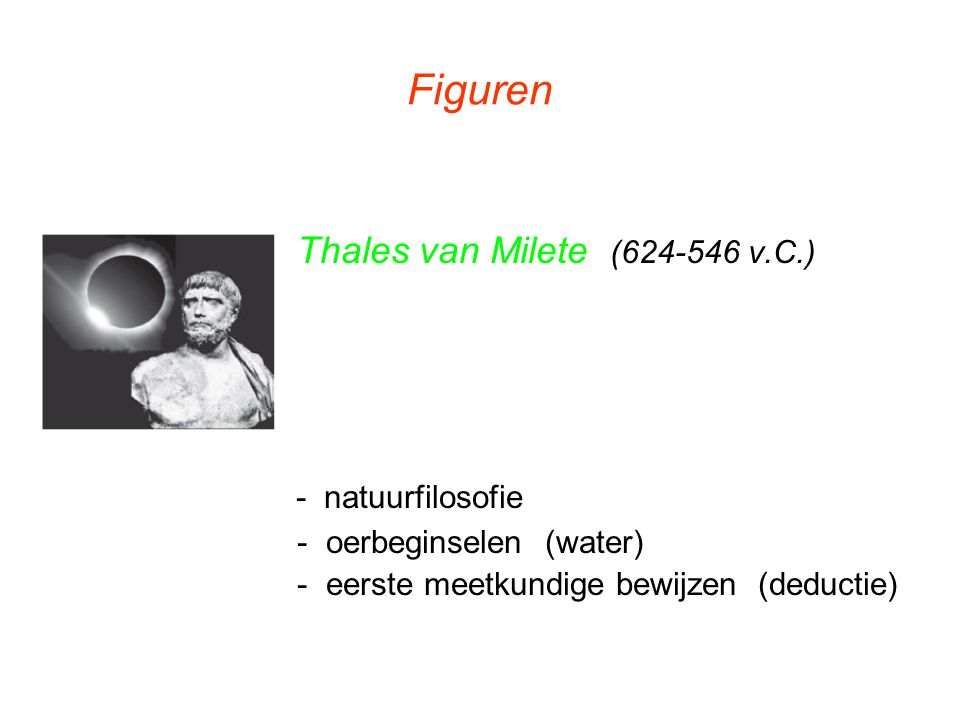 Figuren - natuurfilosofie Thales van Milete (624-546 v.C.)