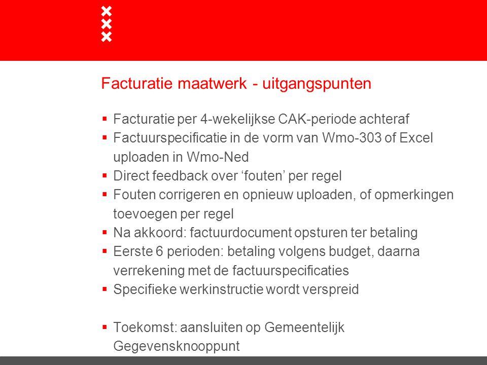 Facturatie maatwerk - uitgangspunten