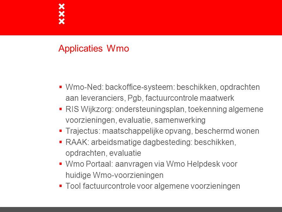 Applicaties Wmo Wmo-Ned: backoffice-systeem: beschikken, opdrachten aan leveranciers, Pgb, factuurcontrole maatwerk.
