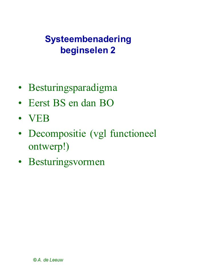 Systeembenadering beginselen 2