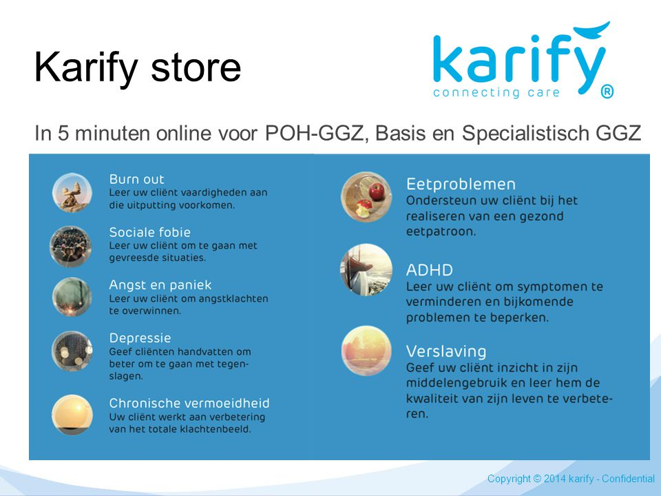 Karify store In 5 minuten online voor POH-GGZ, Basis en Specialistisch GGZ.