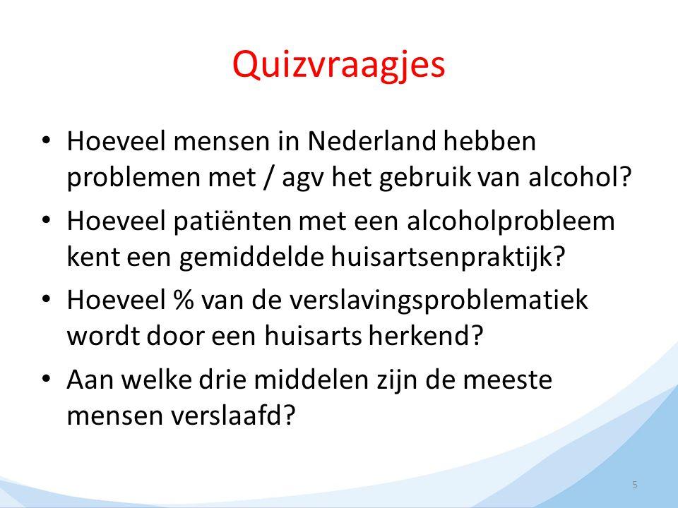 Quizvraagjes Hoeveel mensen in Nederland hebben problemen met / agv het gebruik van alcohol