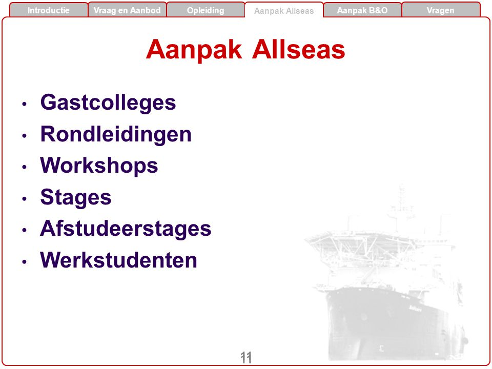 Aanpak Allseas Gastcolleges Rondleidingen Workshops Stages