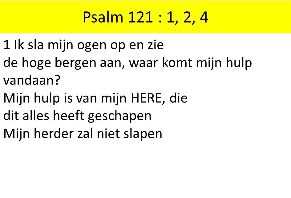 Psalm 121 : 1, 2, 4 1 Ik sla mijn ogen op en zie de hoge bergen aan, waar komt mijn hulp vandaan Mijn hulp is van mijn HERE, die.