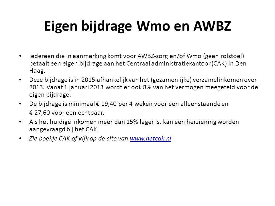 Eigen bijdrage Wmo en AWBZ