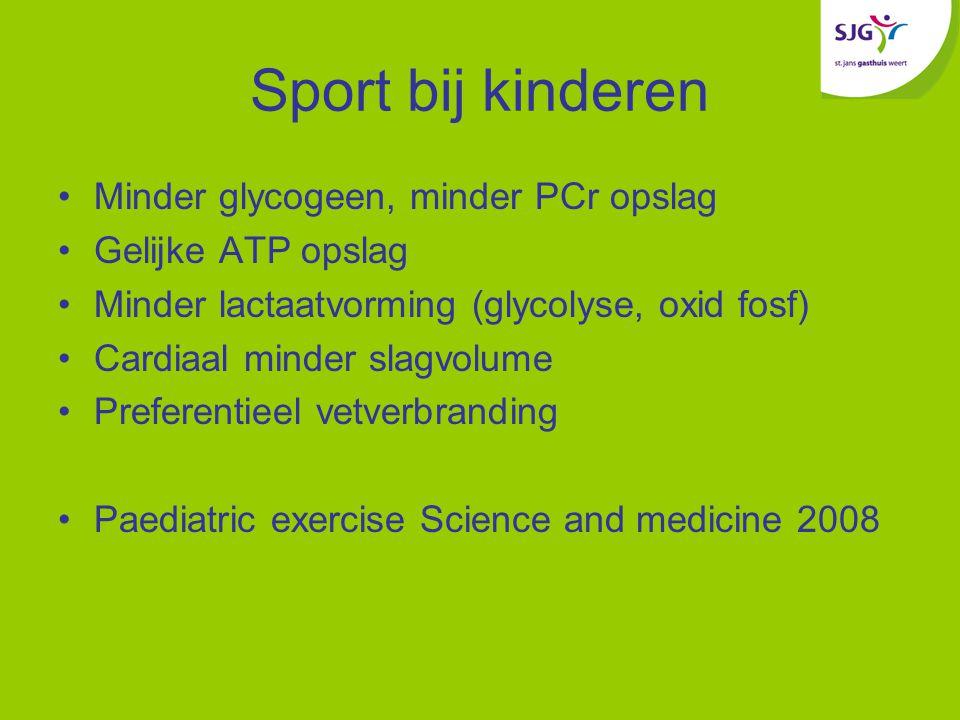 Sport bij kinderen Minder glycogeen, minder PCr opslag