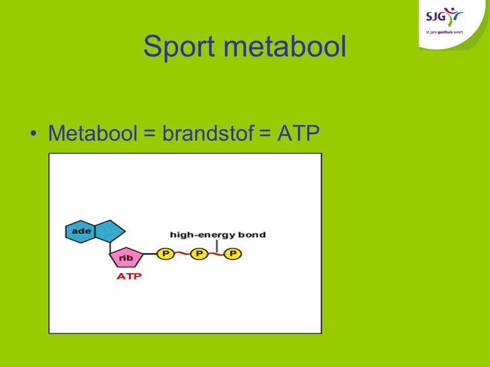 Sport metabool Metabool = brandstof = ATP