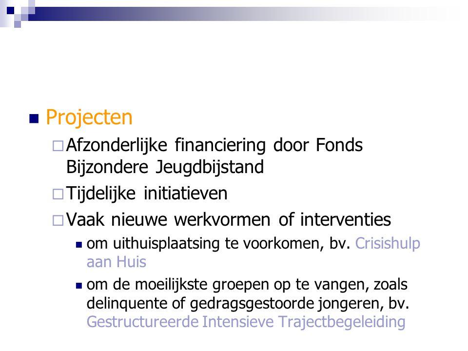 Projecten Afzonderlijke financiering door Fonds Bijzondere Jeugdbijstand. Tijdelijke initiatieven.