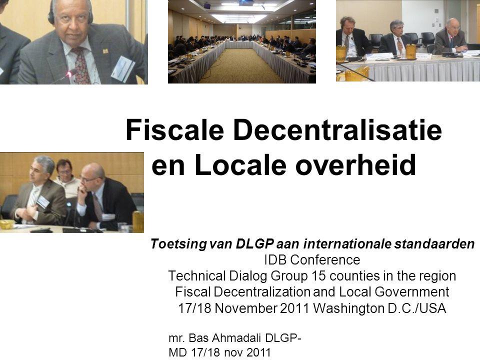 Fiscale Decentralisatie en Locale overheid