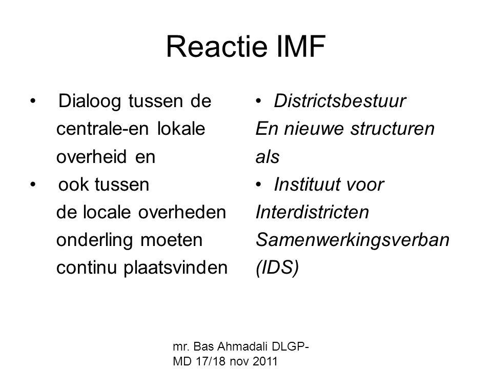 Reactie IMF Dialoog tussen de centrale-en lokale overheid en