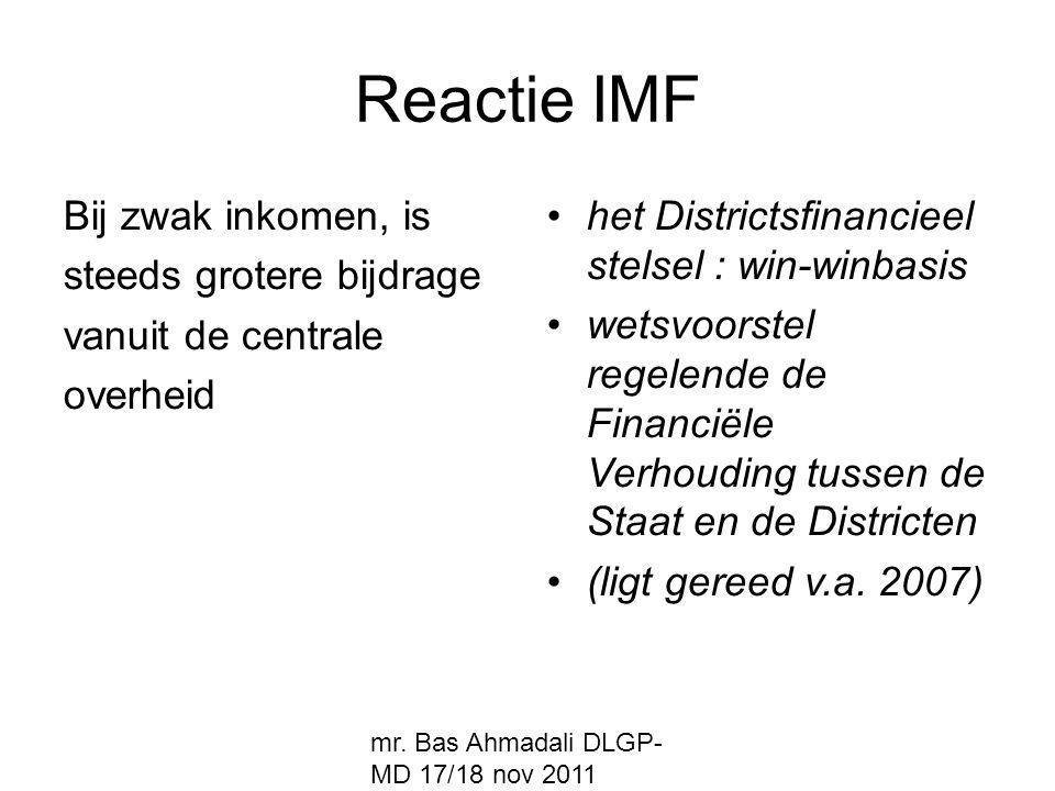Reactie IMF Bij zwak inkomen, is steeds grotere bijdrage