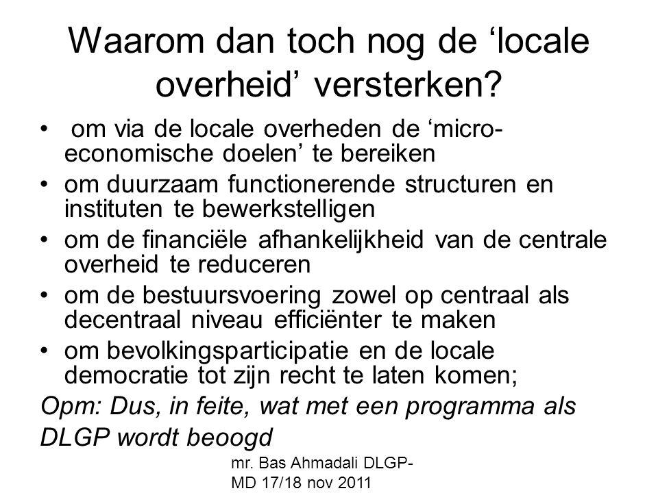 Waarom dan toch nog de 'locale overheid' versterken