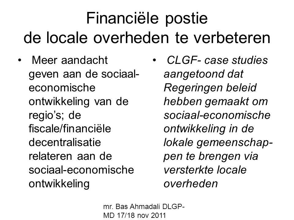 Financiële postie de locale overheden te verbeteren