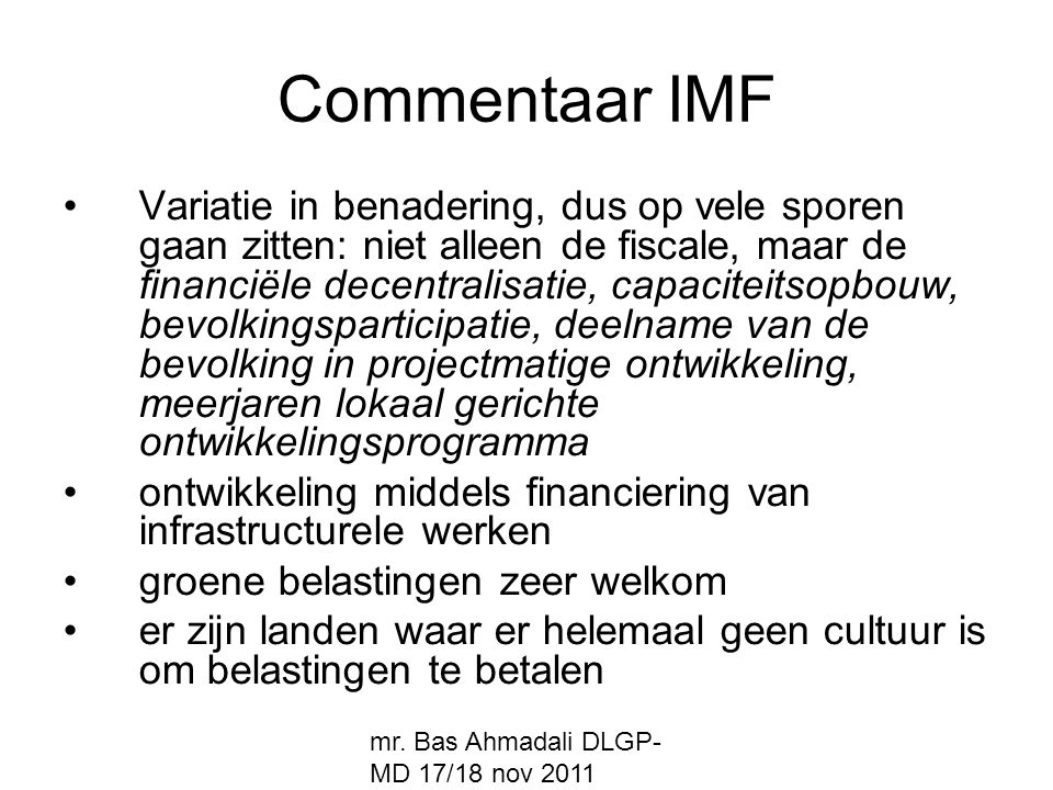 Commentaar IMF