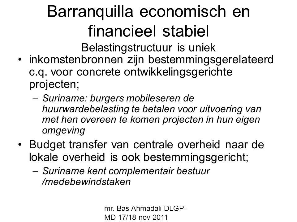 Barranquilla economisch en financieel stabiel Belastingstructuur is uniek