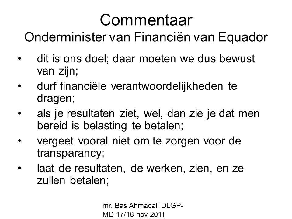 Commentaar Onderminister van Financiën van Equador