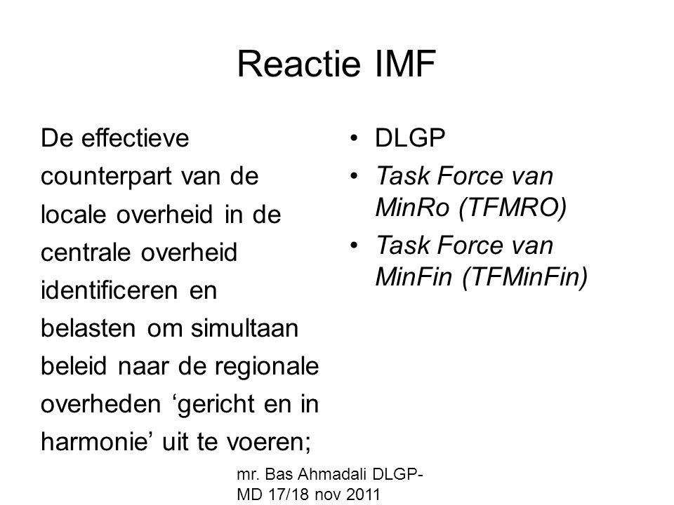 Reactie IMF De effectieve counterpart van de locale overheid in de