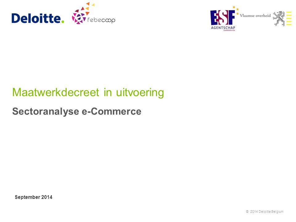 Maatwerkdecreet in uitvoering Sectoranalyse e-Commerce