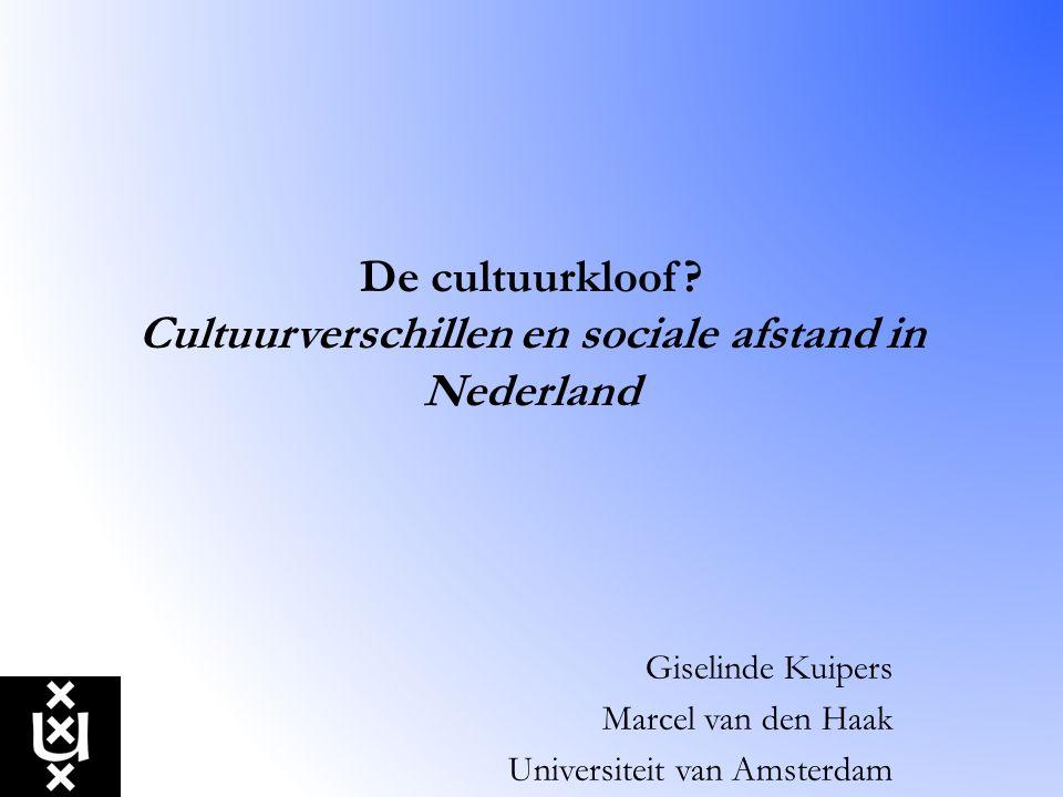 De cultuurkloof Cultuurverschillen en sociale afstand in Nederland