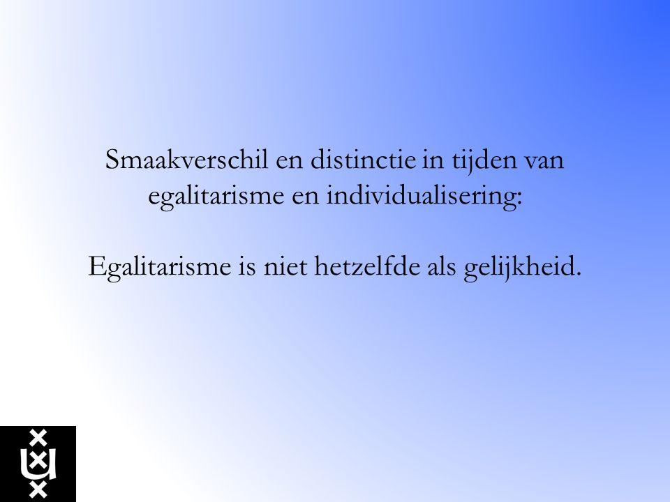 Smaakverschil en distinctie in tijden van egalitarisme en individualisering: Egalitarisme is niet hetzelfde als gelijkheid.