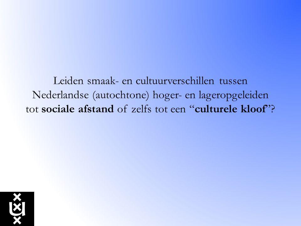 Leiden smaak- en cultuurverschillen tussen Nederlandse (autochtone) hoger- en lageropgeleiden tot sociale afstand of zelfs tot een culturele kloof