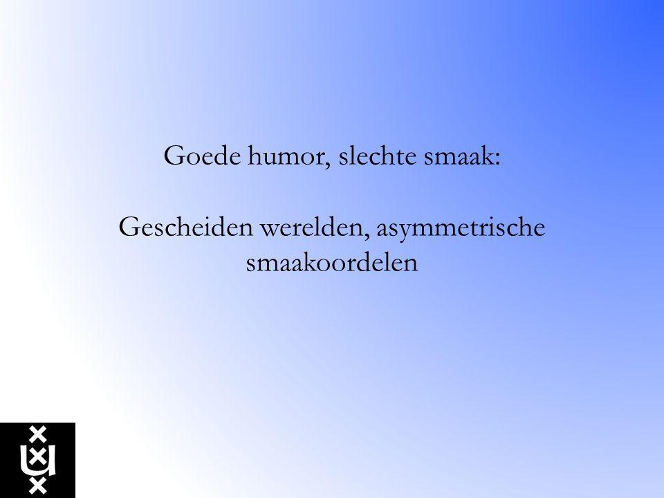 Goede humor, slechte smaak: Gescheiden werelden, asymmetrische smaakoordelen