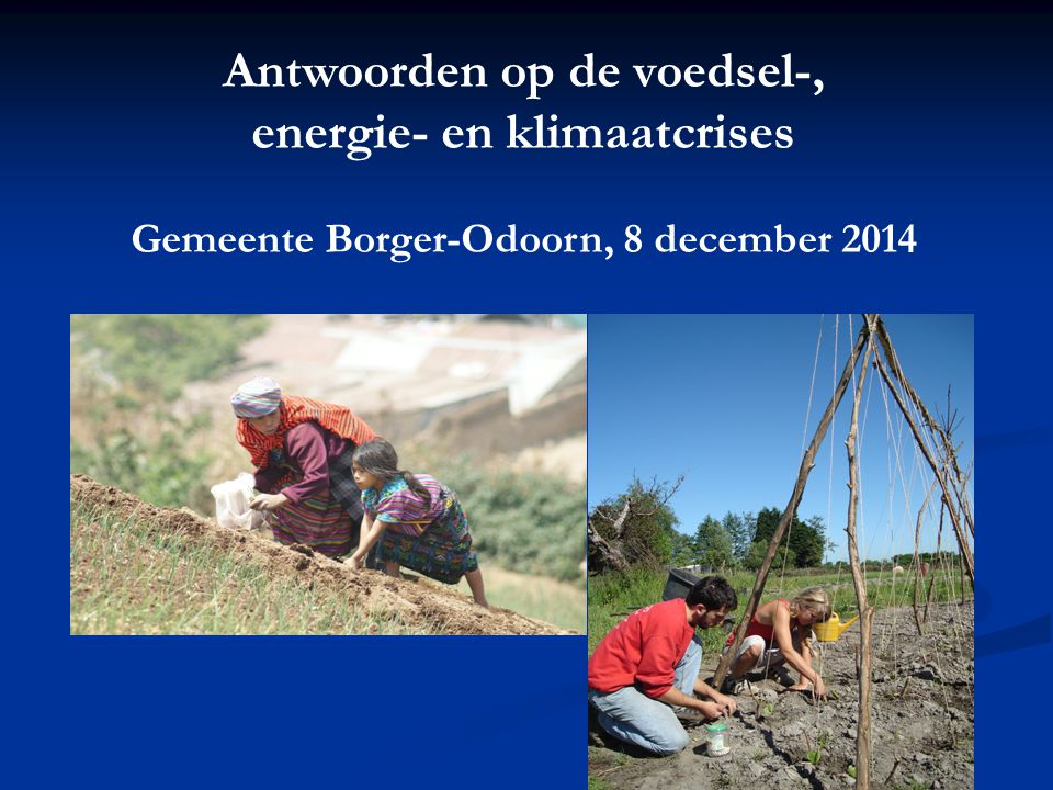 Antwoorden op de voedsel-, Gemeente Borger-Odoorn, 8 december 2014
