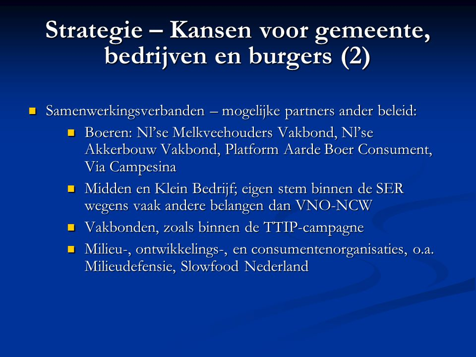 Strategie – Kansen voor gemeente, bedrijven en burgers (2)