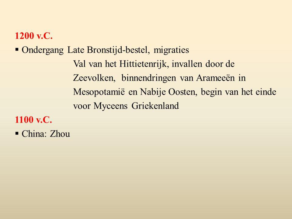 1200 v.C. Ondergang Late Bronstijd-bestel, migraties.