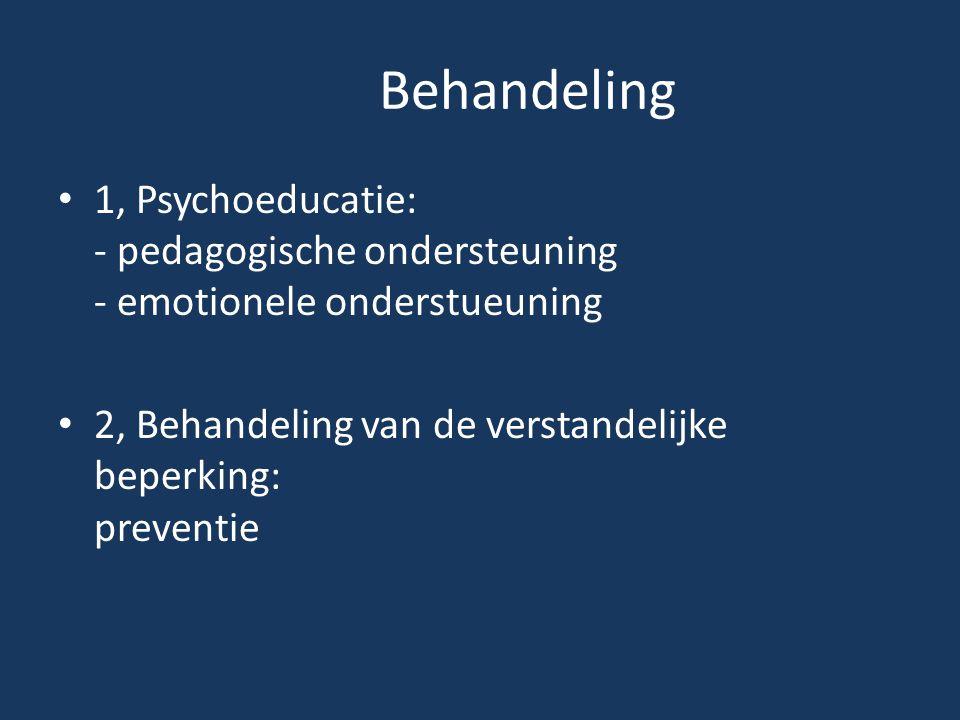 Behandeling 1, Psychoeducatie: - pedagogische ondersteuning - emotionele onderstueuning.