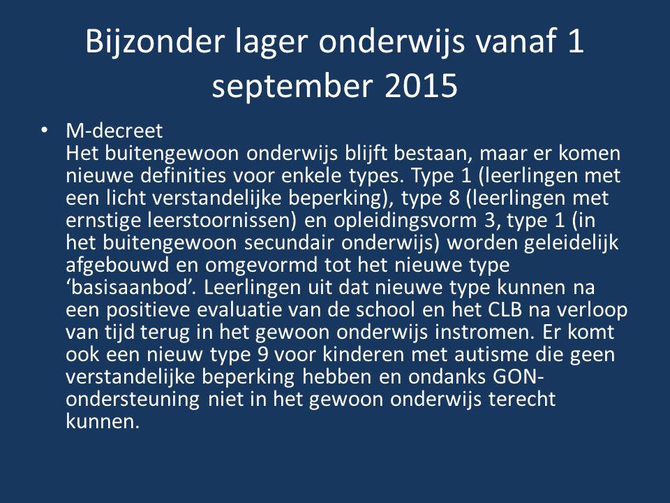 Bijzonder lager onderwijs vanaf 1 september 2015