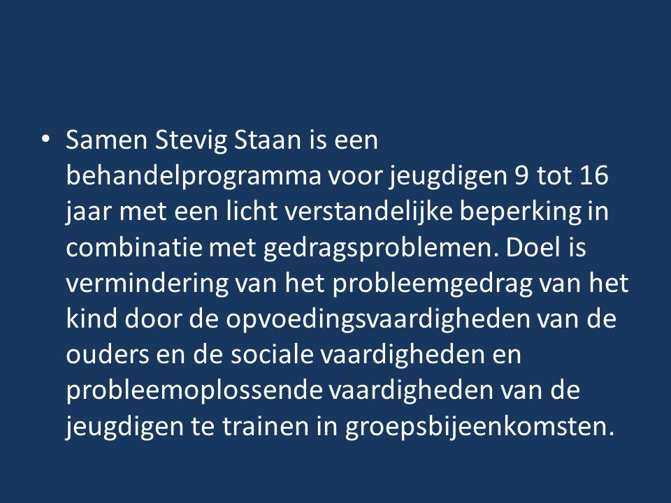 Samen Stevig Staan is een behandelprogramma voor jeugdigen 9 tot 16 jaar met een licht verstandelijke beperking in combinatie met gedragsproblemen.