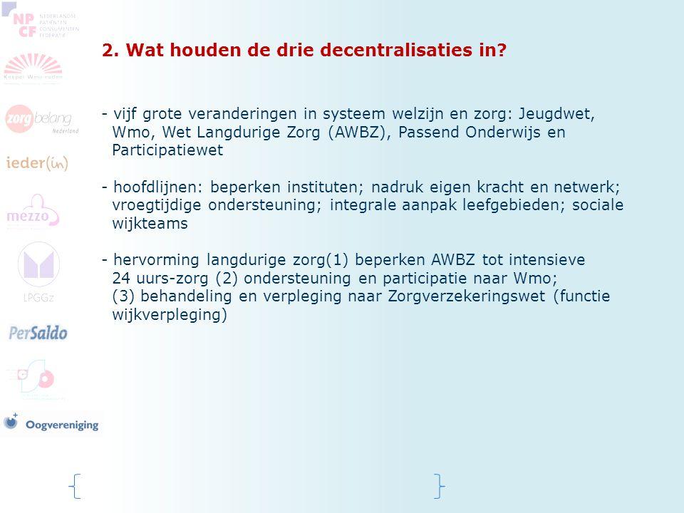 2. Wat houden de drie decentralisaties in