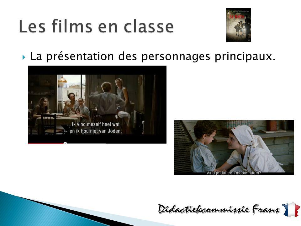 Les films en classe La présentation des personnages principaux.