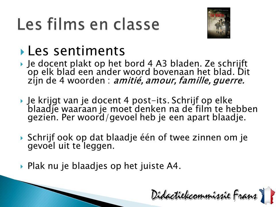Les films en classe Les sentiments