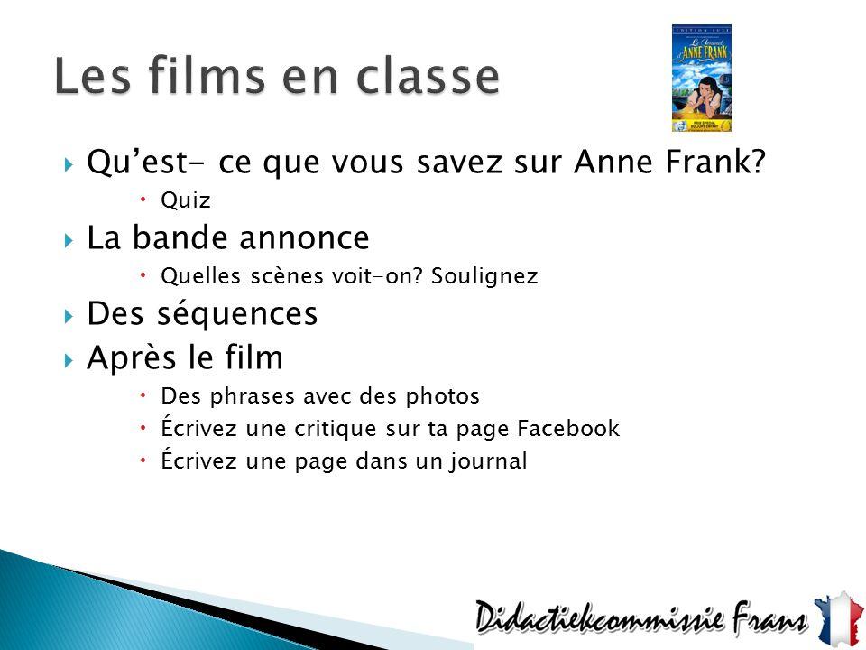 Les films en classe Qu'est- ce que vous savez sur Anne Frank
