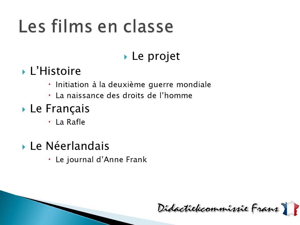 Les films en classe Le projet L'Histoire Le Français Le Néerlandais
