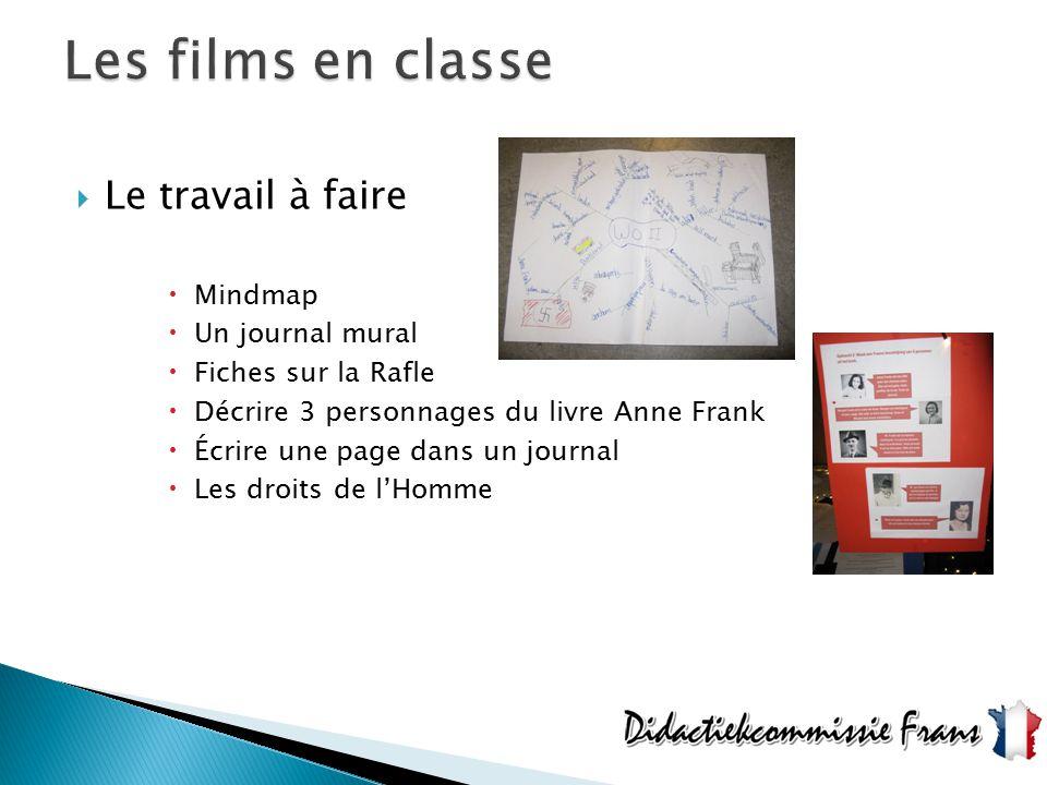 Les films en classe Le travail à faire Mindmap Un journal mural