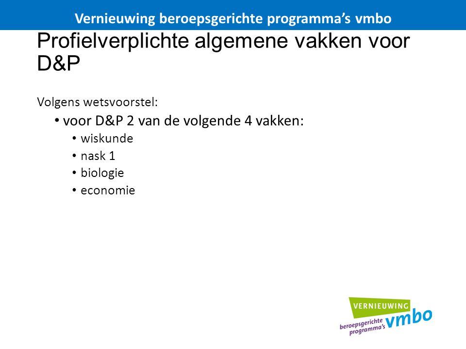 Profielverplichte algemene vakken voor D&P
