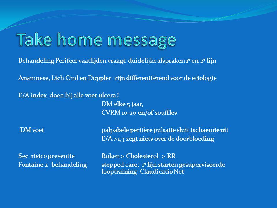Take home message Behandeling Perifeer vaatlijden vraagt duidelijke afspraken 1e en 2e lijn.