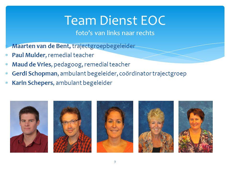 Team Dienst EOC foto's van links naar rechts