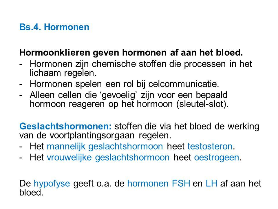 Bs.4. Hormonen Hormoonklieren geven hormonen af aan het bloed. Hormonen zijn chemische stoffen die processen in het lichaam regelen.